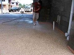 cleaning concrete with a water blaster~ diy exposed aggregate driveway