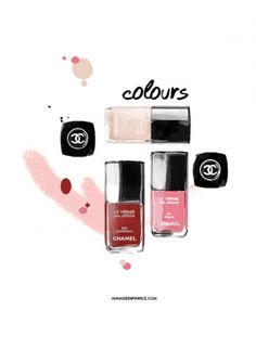"""ANNA OSTAPOWICZ #Chanel #cosmetics #nail polish #red #pink #nude #cosmétiques #vernis #rouge #rose #girly #illustration - More illustrations LINE BOTWIN """"girly illustrations """""""