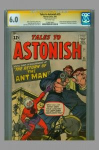 CGC SS 6.0 Tales to Astonish #35 (origina and 2nd appearance of Ant Man, 1st Ant Man in costume) signed by Stan Lee on www.vaultcollectibles.com. #antman #stanlee #talestoastonish #cgcss