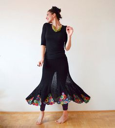 buyable crochet black skirt by subrosa123 on etsy. This really cute summer skirt has been carefully crocheted with black and multicolor silky yarn.