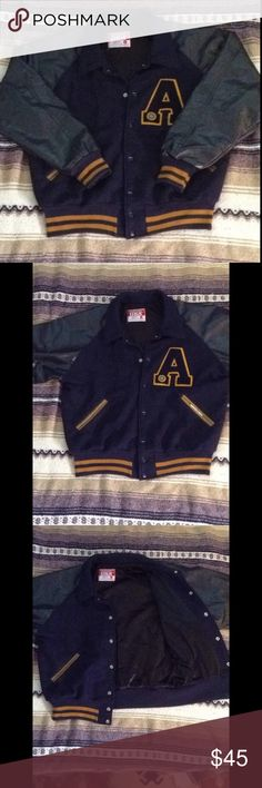 """Vintage Letterman Blue and gold basketball letterman. Letter """"A"""" sewn on patch on right side. Size XL, lining 100% nylon, Melton wool body, knit trim: acrylic nylon, DRY CLEAN ONLY, big deep pockets that could hold a small paperback book. Jackets & Coats Bomber & Varsity"""