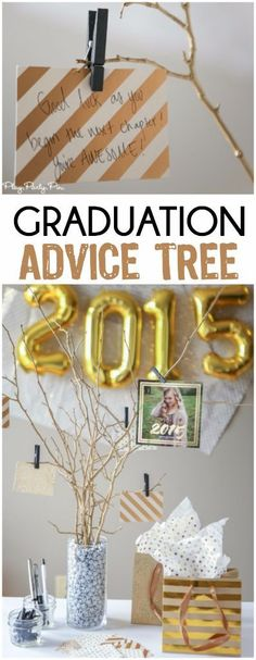 Love this idea of doing a gold foil inspired graduation advice tree, perfect to show off graduation announcements and get advice and congratulations!