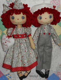 This is for the E-PATTERN to make an Annie and Andy rag doll. Pattern includes directions for making the dolls and their clothing. Also included