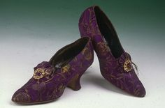Women's Brocade Court Shoe, 1890s~ Pair of purple and gold brocade court shoes. Description from pinterest.com. I searched for this on bing.com/images