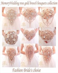 Gold Brooch Bouquet Rose Gold Wedding by Elegantweddingdecor Wedding Brooch Bouquets, Bridesmaid Bouquet, Broach Bouquet, Crystal Bouquet, Broschen Bouquets, Dream Wedding, Wedding Day, Wedding Bells, Rustic Wedding