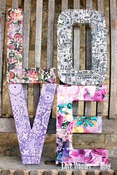 Try these gorgeous letters in crafty decoupage paper- quick easy tutorial on… Decoupage Letters, Cardboard Letters, Paper Mache Letters, Decoupage Paper, Wooden Letters, Creative Crafts, Fun Crafts, Diy And Crafts, Paper Crafts