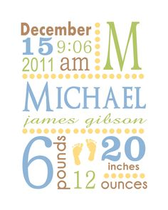 Another birth announcement idea - framed.