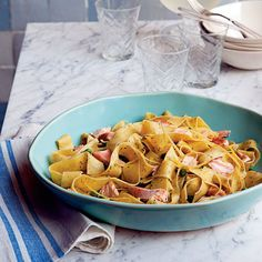 Pappardelle with Salmon and Peas in Pesto Cream Sauce - 20 Easy Pasta Recipes - Coastal Living Best Pasta Recipe Ever, Best Salmon Recipe, Best Pasta Recipes, Salmon Recipes, Seafood Recipes, Healthy Recipes, Seafood Pasta, Seafood Salad, Quick Recipes