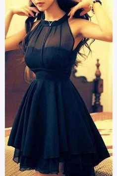 Chiffon Navy Blue Homecoming Dress,Short Prom Dresses For Girls,SH21
