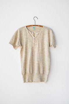 vintage henley / vintage mens shirt / vintage wool henley / 1960s vintage short sleeve mens henley shirt. $58.00, via Etsy.