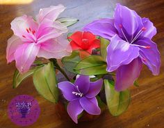 Nylon flower by ButterflyGingerByAom on Etsy