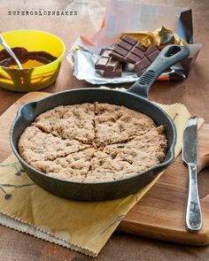 Giant oat and chocolate skillet cookie