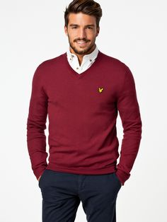 - with a fall business casual layering option with a red v neck sweater white button up shirt with button collars navy trousers Sweater Outfits, Men Sweater, Jumper Outfit, Mens Fashion Summer Outfits, Red Jumper, Look Formal, Mens Fashion Sweaters, Herren Outfit, Fashion Moda
