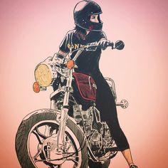 Starvin - My new favorite motorcycle sketch artist Anime Motorcycle, Motorcycle Posters, Women Motorcycle, Motorcycle Helmets, Bd Art, Bike Drawing, Bike Sketch, Art Painting Gallery, Cute Illustration
