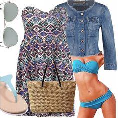 Siamo al mare. Un outfit semplice, che può accompagnarci dalla passeggiata per negozi con le amiche, dritte fino in spiaggia! il mini dress nascondei il bikini senza spalline. La shopper è in paglia, e irrinunciabili gli occhiali da sole! Se per l'ora dell'aperitivo si alza una brezza: niente luccichii, spazio al jeans.