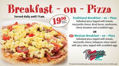 Breakfast on pizza at Panarottis is new and is BIG on the family - just as Panarotti's breakfast pizza is big Mexican Breakfast, Breakfast Pizza, Lunches And Dinners, Meals, Pizza And More, Spicy Salsa, Cherry Tomatoes, Italian Recipes, Stuffed Mushrooms