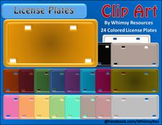 License Plate Clip Art from Whimsy Resources on TeachersNotebook.com -  (24 pages)  - License Plate Clip Art   24Graphics for PERSONAL AND COMMERCIAL use!