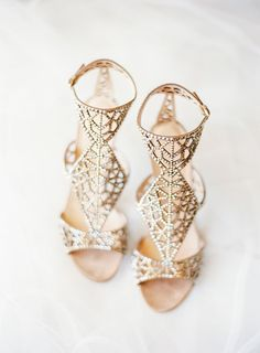 Gold Sergio Rossi embellished sandals: Photography : Rachel May Photography Read More on SMP: http://www.stylemepretty.com/virginia-weddings/2016/09/08/romantic-spring-editorial-wedding-inspiration/