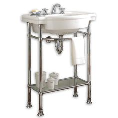 American Standard Retrospect Bathroom Console Sink with table legs - Showroom Sinks Bathroom Sink Design, Bathroom Vanity Cabinets, Bathroom Shelves, Bathroom Storage, Bathroom Vanities, Bathroom Ideas, Bath Ideas, Bathroom Inspiration, Bathroom Interior