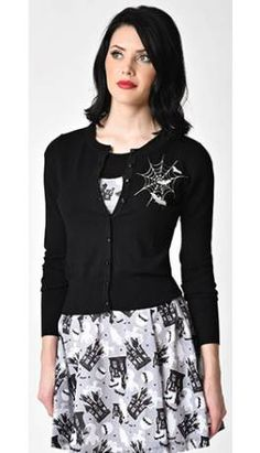 Retro Style Black & White Spider Web Sleeved Button Up Cardigan