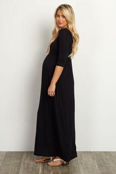 Black 3/4 Sleeve Maxi Dress