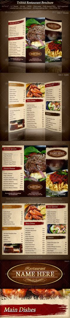 TriFold Restaurant Brochure Template - Food Menus Print Templates