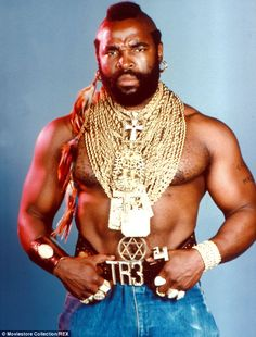 Icon: Mr T wearing his famous golden necklaces when he starred as BA Baracus in the A-Team