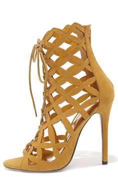 4a66206234d4 Lattice Effect Mustard Yellow Suede Lace-Up Heels at Lulus.com! Lace Up