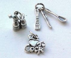 Charms, Cooking: Love to Cook, Shakers, Utensils Sterling Silver Charms (3) #Traditional