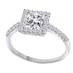 1.90 Ct Princes Cut Halo Engagement Promise Ring Solid 14K White Gold Certified #Gemstoneplace #SolitairewithAccents #Christmas