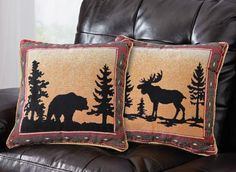 Northwoods Reversible Pillow Cover - Perfect for a lodge or cabin theme home.  We especially love the dramatic silhouette from the animals against the warm colors of the trim.