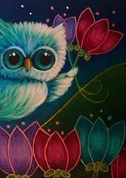 Art: TINY OWL IN MY GARDEN MOTHER'S DAY FLOWERS by Artist Cyra R. Cancel