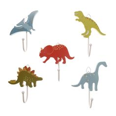Sass & Belle Set Of 5 Wooden Dinosaur Single Hooks | ACHICA