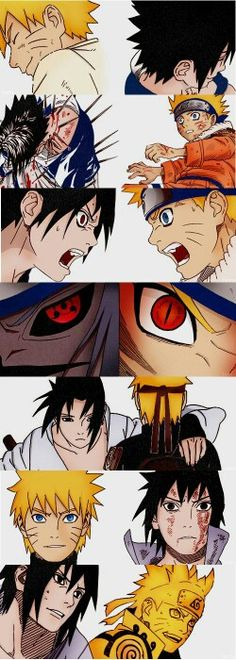 Naruto, Sasuke, timeline, different ages, time lapse, Sharingan, Nine Tails eyes, Nine Tail Sage Mode; Naruto
