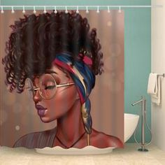 Unique Hairstyle With Glass Afro Black Girl Shower Curtain Bathroom Decor Afro African Black Girl Magic Duschvorhang Hairstyles With Glasses, Unique Hairstyles, Girl Hairstyles, Afro Shower Curtain, Bathroom Shower Curtains, Bathroom Rugs, Do It Yourself Decoration, Graffiti, House Ideas