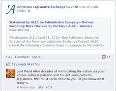 """Facebooker says #ALEC has """"decades of intimidating the nation via [their] cookie cutter legislation and bought-and-paid-for legislators"""""""