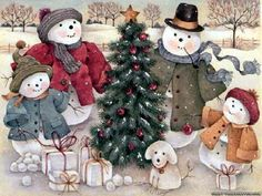 christmas scenes pictures   Christmas scene Wallpaper - Download The Free Snowman family Christmas ...