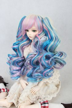 BJD DOLL wig,.1/3 doll.blue/blonde/pink mix,multicolor,lolita/harajuku style.curly long wig+tail,for LUTS,Pullip,Blythe,Dal,Dod,106A on Etsy, $24.99