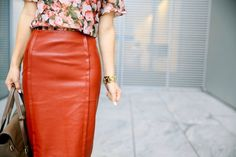 Floral Pencil Skirt Outfits | fall outfit: floral and leather pencil skirt