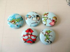 Peter Pan Captain Hook fabric covered buttons 1 by denuartigekat, $6.25