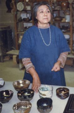 Taken in Toshiko's basement studio, Quakertown, N.J. We had a big discussion that day about the aesthetics of shiny glazes. Photo:Mark Fishstein