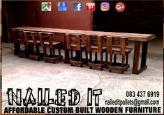 6 Seater Counter with backrest chairs. We do it all. Affordable, custom built furniture. Contact us on 0834376919 or naileditpallets@gmail.com #counters #wallcounter #counterandstools  #custompalletwoodfurnituredurban #custompalletfurniture #naileditpalletwoodfurniture #nailedpalletfurnituredurban #naileditcustombuiltpalletfurniture #customfurnituredurban