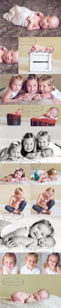 Newborn posing with siblings