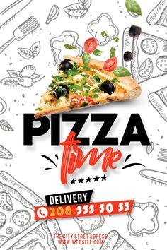 Flyer Dj, Sport Flyer, Pizza Flyer, Menu Flyer, Pizza Menu Design, Food Web Design, Food Graphic Design, Food Poster Design, Promo Pizza