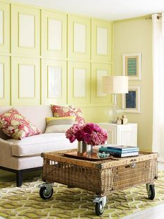 Great wall treatment.  Featuring Benjamin Moore's 2013 Color of the Year, Lemon Sorbet.