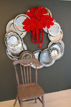 repurposed silver tray wreath just in time for the holidays