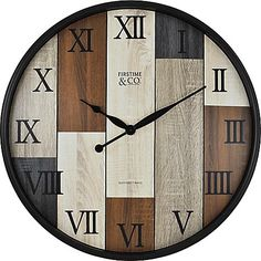 Featuring a multicolored wood panel design, the FirsTime Timberline Wall Clock adds rustic-chic style to any room. Black Roman numerals bring graceful style to this versatile wall clock. Silver Wall Clock, Clock Wall, Outdoor Wall Clocks, Wall Clock Online, Diy Clock, Wall Clock Design, Creation Deco, Wood Clocks, Creations