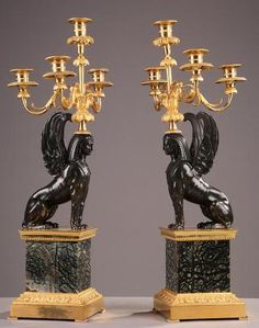 "1800 pair of French candlesticks ""return from Egypt"""
