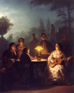 Petrus van Schendel ( 1806 -  1870) ,A Summer Evening by Lamp and by Moonlight