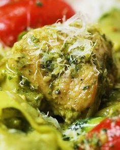 Chicken, Pesto with Zucchini Pasta Ribbons